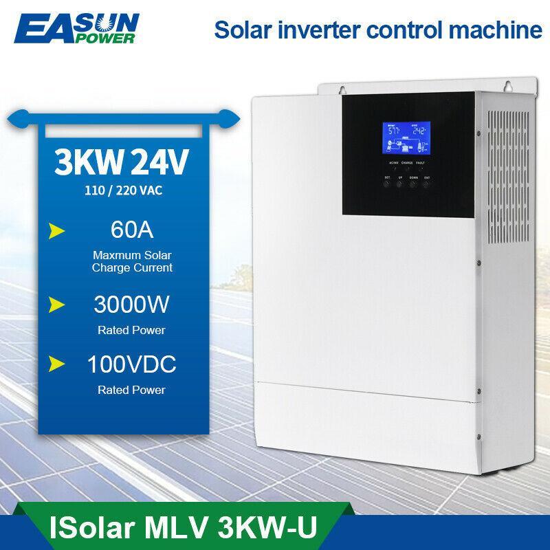 100A MPPT 3KW Off-Grid Solar Inverter 110VAC/120VAC 24V Pure Sine Wave Inverter