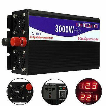3000W 12V/24V/48V to 220V Pure Sine Wave Power Inverter Home Converter
