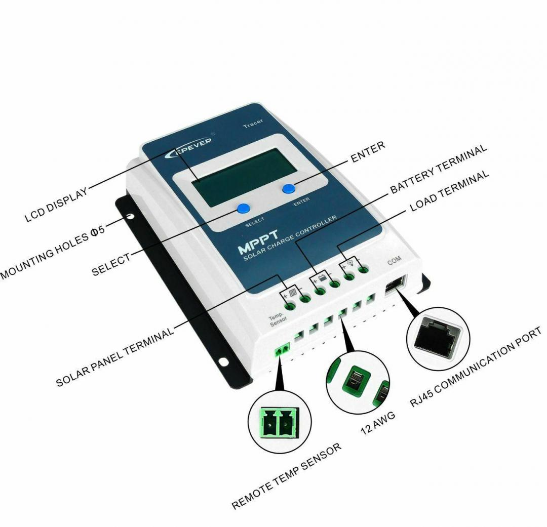 EPEVER Mppt Solar Charge Controller 10A/20A/30A/40A Tracer AN Series Regulator