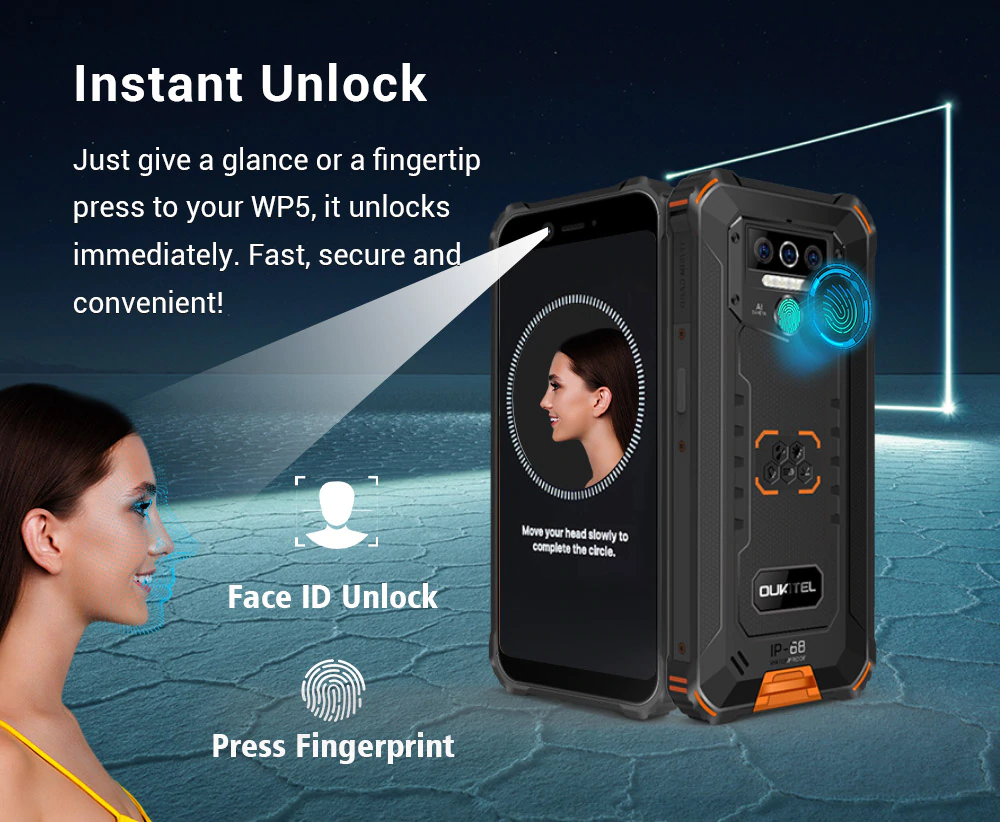 OUKITEL WP5 4G Rugged Smartphone 8000mAh Battery 5.5 Inch 3 Rear Camera Android 9.0 3GB RAM 32GB - Sales In Nigeria