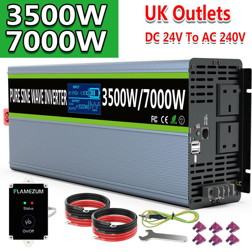 Power Inverter 3500W/7000W Pure Sine Wave 24V dc to ac 240V LCD Truck Converter