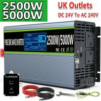 2500W 5000W(Surge) DC 24V To AC 240V PURE SINE WAVE Power Inverter Truck Camping