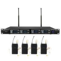 ERZhen U-F4000 Professional 4 Channel UHF Wireless Microphone System Mic w/ Headset Stage KTV