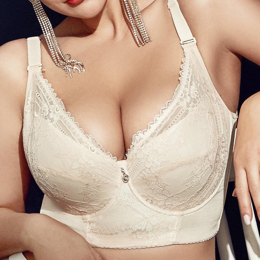plus-size-embroidery-gather-plunge-thin-j-cup-push-up-long-lined-lace-bra